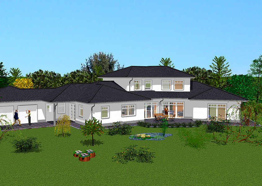 Landaus mit integrierter einliegerwohnung bauen for Haus mit doppelgarage bauen
