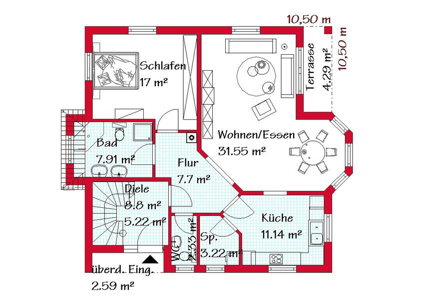 Grundriss einfamilienhaus schlafzimmer im erdgeschoss  Einfamilienhaus mit Einliegerwohnung bauen | GSE HAUS
