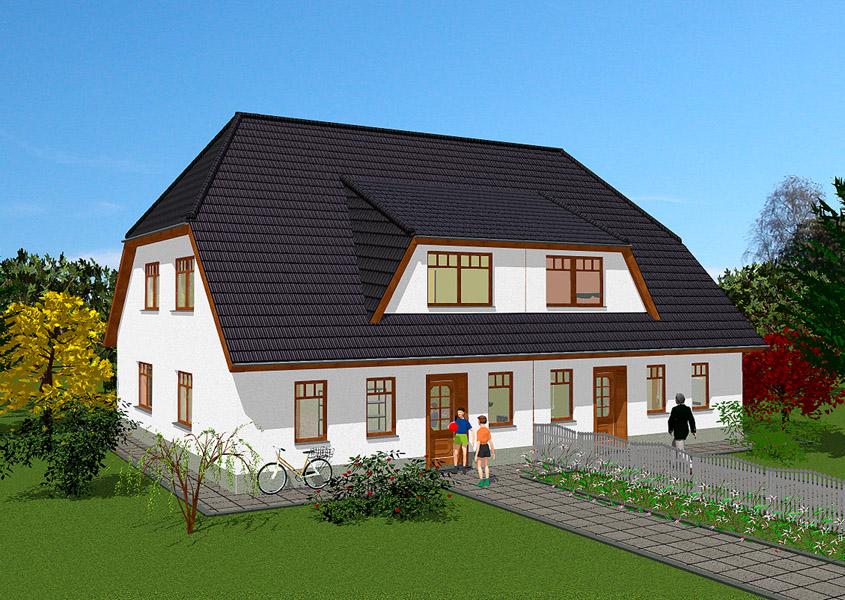 Doppel landh user in massivbauweise gse haus gmbh for Doppelhaus modern bauen
