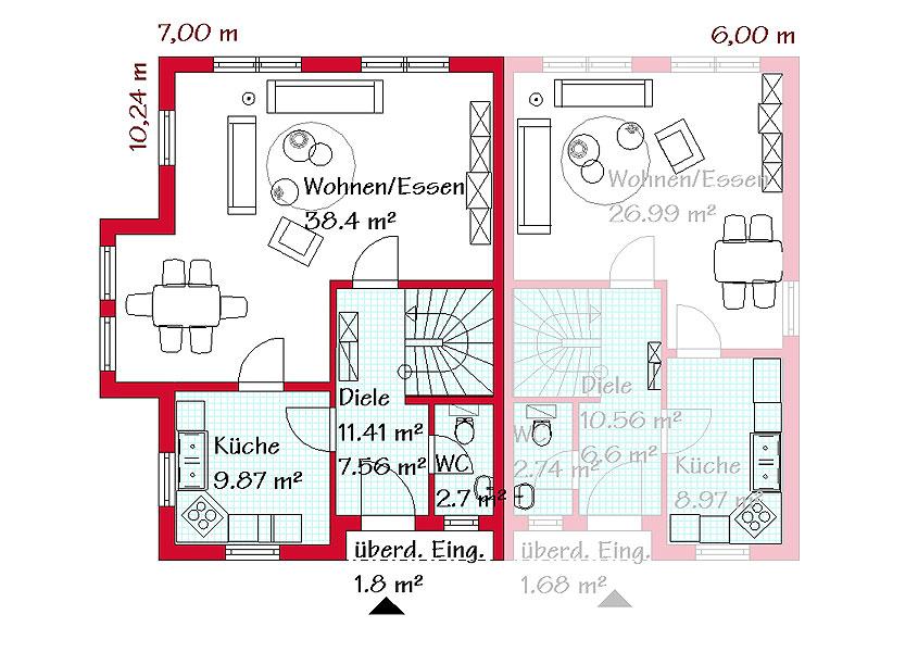 Gro es pultdachhaus im mediterranen stil gse haus for Haus mit einliegerwohnung grundriss