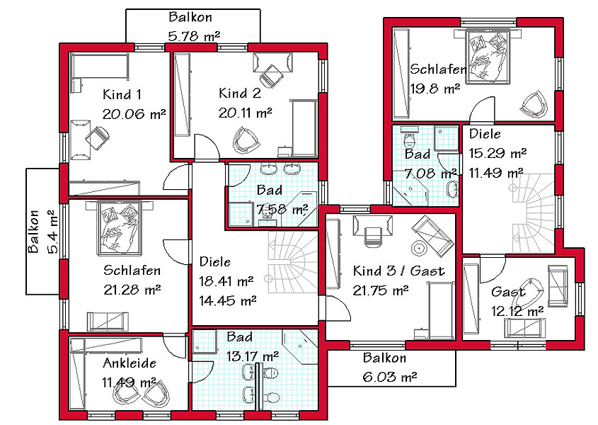 Stadthaus im mediterranen baustil mit einliegerwohnung for Zweifamilien bungalow grundriss