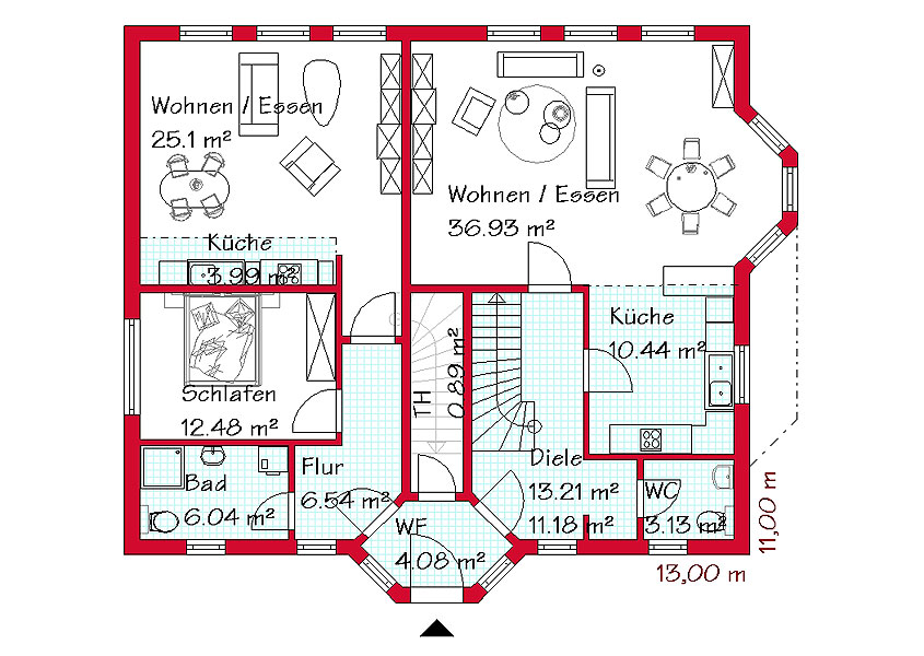 Einfamilienhaus mit einliegerwohnung im erdgeschoss for Haus mit einliegerwohnung grundriss