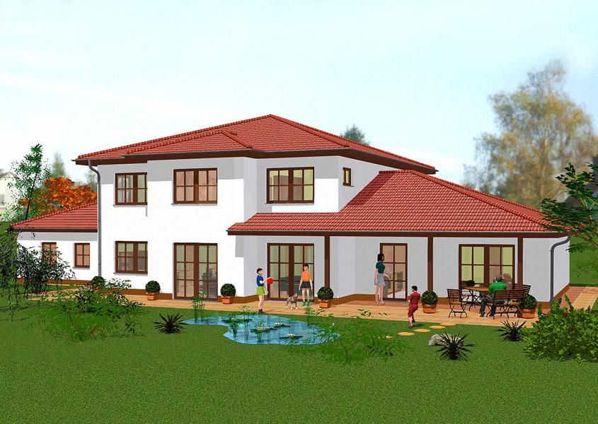 stadtvilla r ckansicht mediterran wohnen mit terrasse. Black Bedroom Furniture Sets. Home Design Ideas