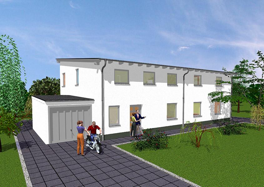 Haus bauen modern pultdach  Doppelhäuser in Massivbauweise bauen | GSE HAUS