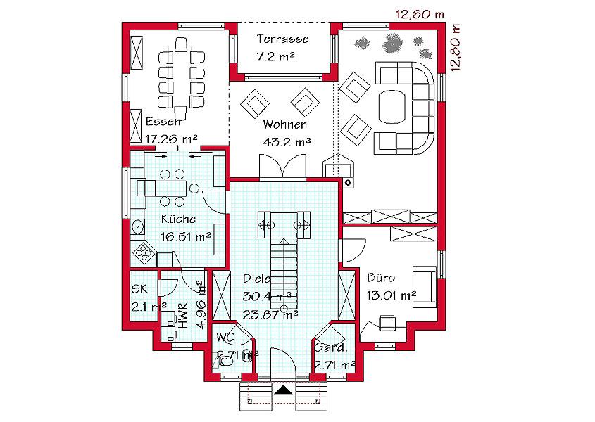 exklusive h user bauen zweigeschossiges massivhaus. Black Bedroom Furniture Sets. Home Design Ideas