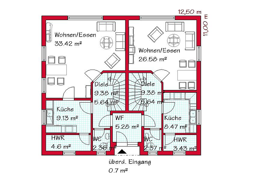 Einfamilienhaus mit einliegerwohnung modern  Doppelhaus Massivhaus bauen mit GSE HAUS