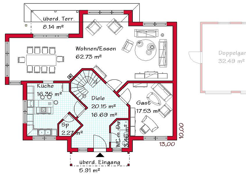 Stadtvilla mediterran grundriss  Massivhaus in medtierranen Stil mit 239 m² Wohnfläche