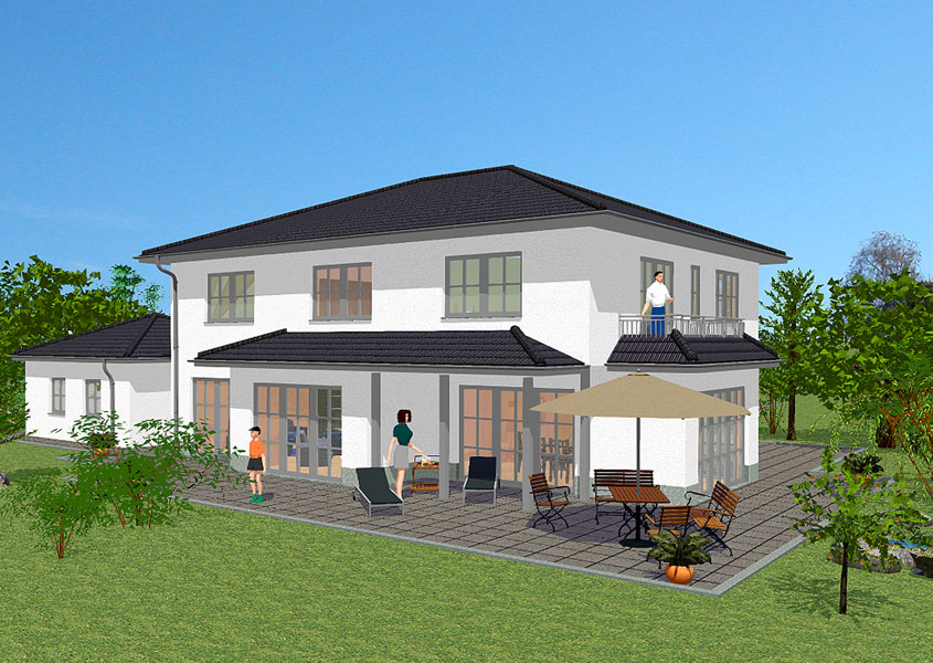 Massivhaus in medtierranen stil mit 239 m wohnfl che for Haus mit doppelgarage bauen