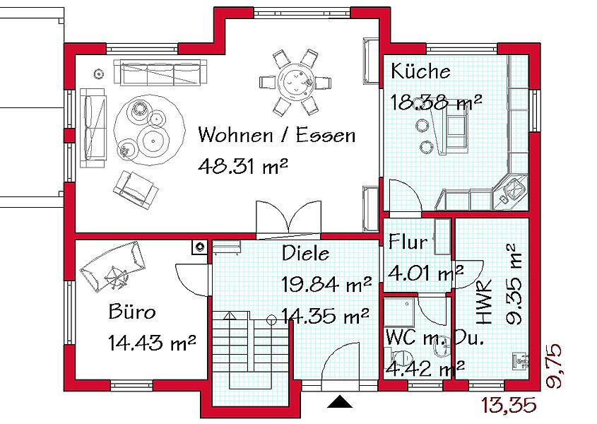 Grundriss einfamilienhaus schlafzimmer im erdgeschoss  Einfamilienhaus bauen lassen | GSE-Haus