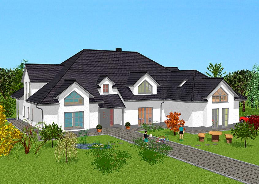 Luxuri ses landhaus mit eckturm bauen gse haus for Fertighaus mit einliegerwohnung