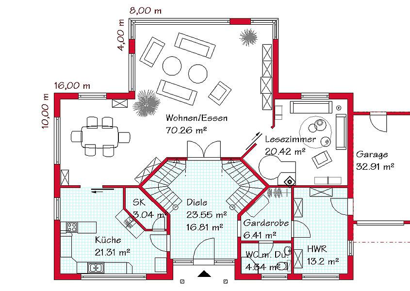 Einfamilienhaus grundriss 3 kinderzimmer  Mediterranes Luxushaus mit 313,3m² Gesamtwohnfläche
