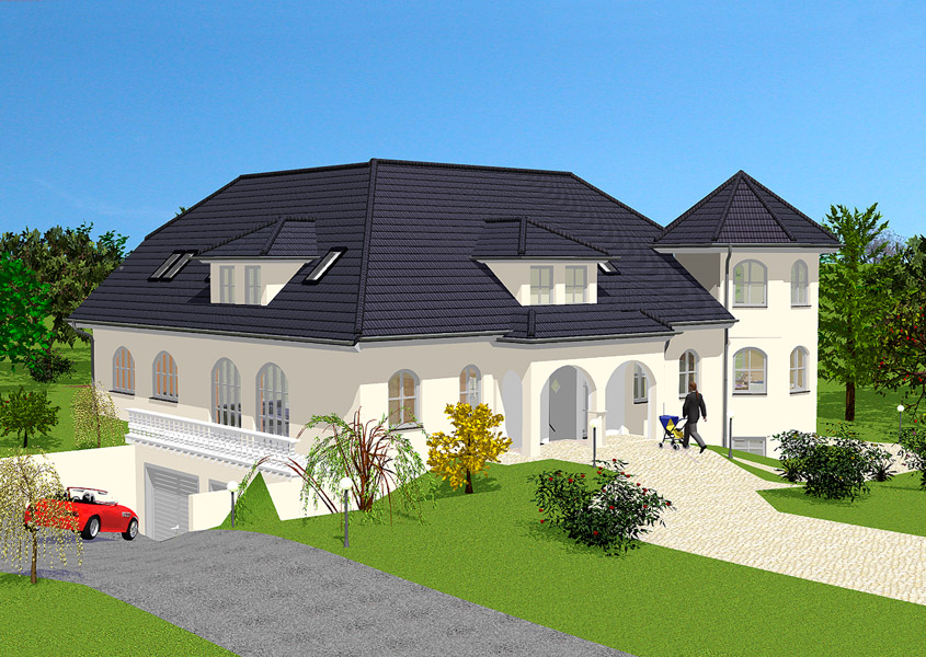 luxuri ses landhaus mit eckturm bauen gse haus. Black Bedroom Furniture Sets. Home Design Ideas