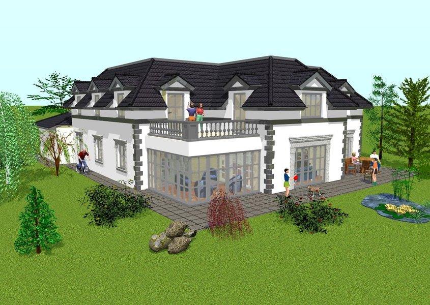 modernes landhaus mit wintergarten bauen gse haus. Black Bedroom Furniture Sets. Home Design Ideas