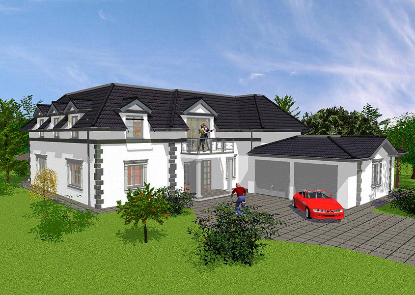 Modernes landhaus mit wintergarten bauen gse haus for Haus mit doppelgarage bauen