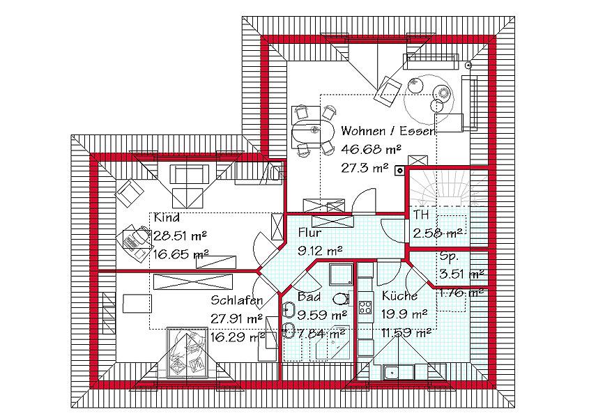 Bungalow mit m glichkeit zur einliegerwohnung gse haus for Raumaufteilung einfamilienhaus