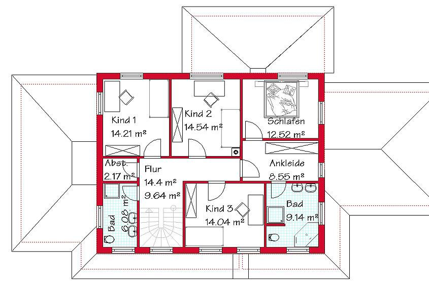 Das obergeschoss der stadtvilla mit 91 0 m²