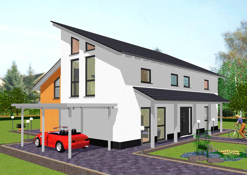 bauen sie mit gse haus ihr traumhaus mit pultdach. Black Bedroom Furniture Sets. Home Design Ideas