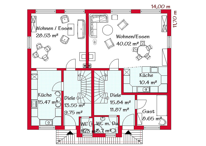 Doppelh user mit mediterranem charme gse hause gmbh for Haus mit einliegerwohnung grundriss