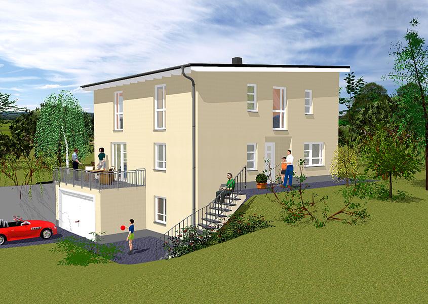 Stadtvilla mit garage im keller  Pultdachhaus - jetzt Traum vom Eigenheim verwirklichen
