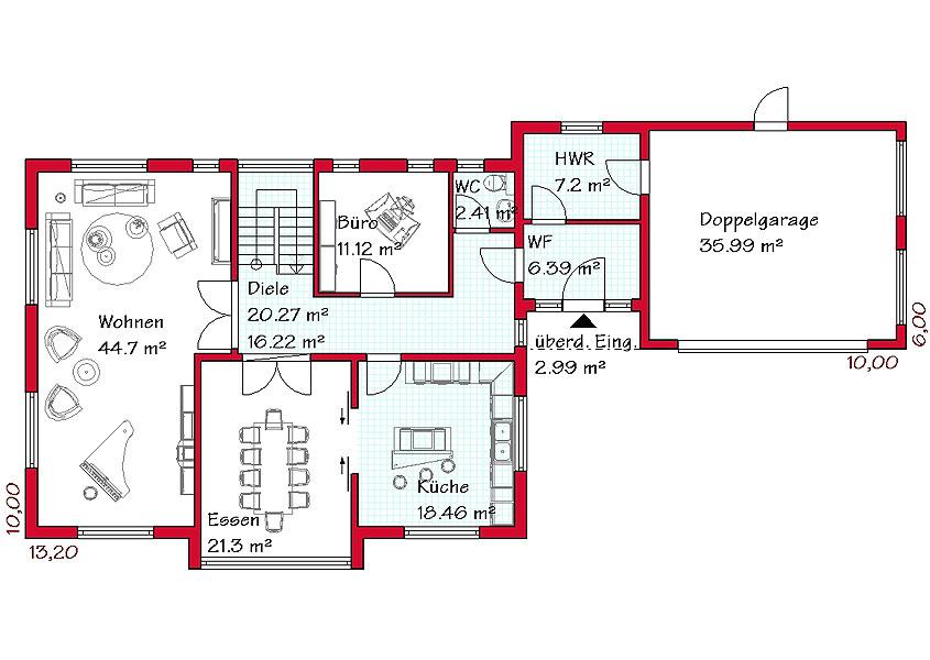 Grundriss einfamilienhaus mit integrierter garage im keller  Grundriss Bungalow Mit Doppelgarage ~ speyeder.net = Verschiedene ...