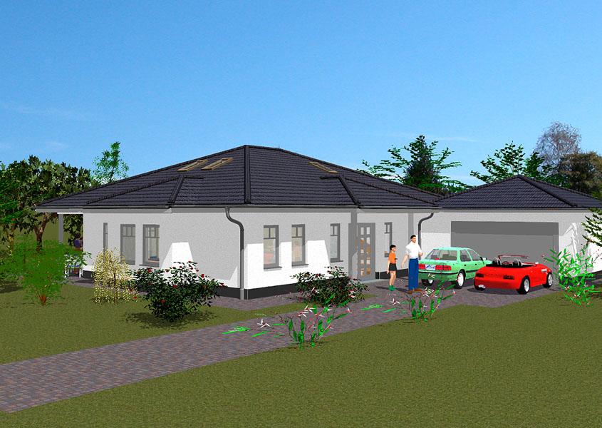 Moderner bungalow hausbau gse haus for Haus mit doppelgarage bauen